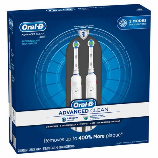 Oral-B Advanced Clean แปรงสีฟันฟ้า (แพ็คคู่) Electric Toothbrushes