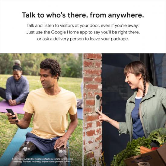 Google Nest Doorbell Battery กระดิ่งพร้อมกล้องวิดีโอไร้สาย พลังงานจากแบตเตอรี่