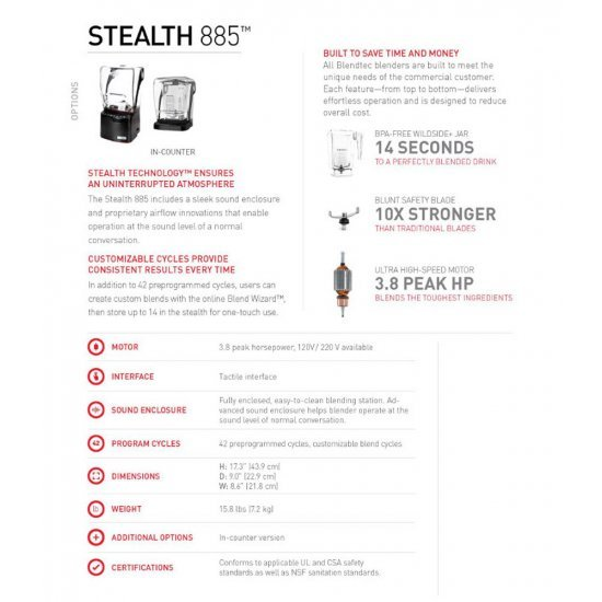Blendtec Stealth 885 เครื่องปั่นความแรงสูงสำหรับธุรกิจเงียบที่สุด 220V
